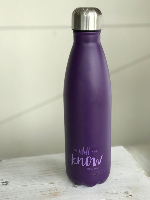 Be Still Purple Water Bottle