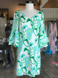 Blue and Green Flower Dress