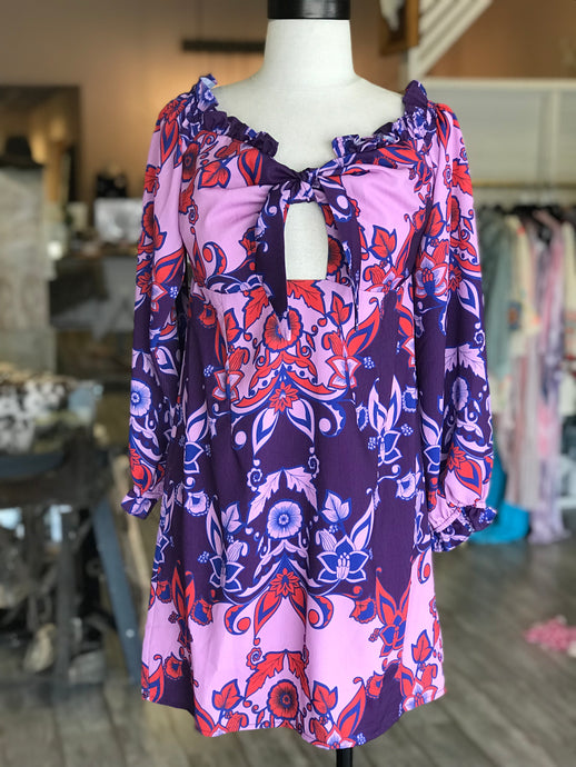 Pink and Purple Off The Shoulder Dress