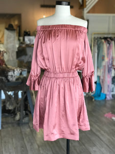 Off the Shoulder Pink Silk Dress