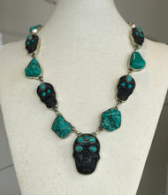 Load image into Gallery viewer, Turquoise Skull Necklace