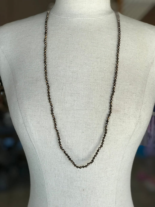 Long Metallic Beaded Necklace
