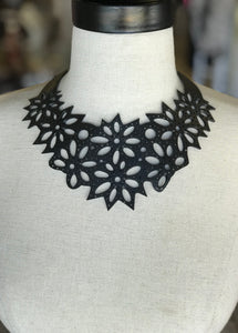 Black Leather Cut-Out Necklace