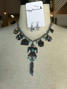 Turquoise Bird and Feather Necklace