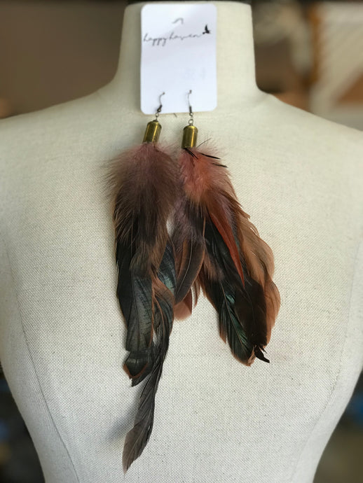 Dusty Pink Feather Earrings