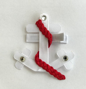Red and White Anchor Hair Clip