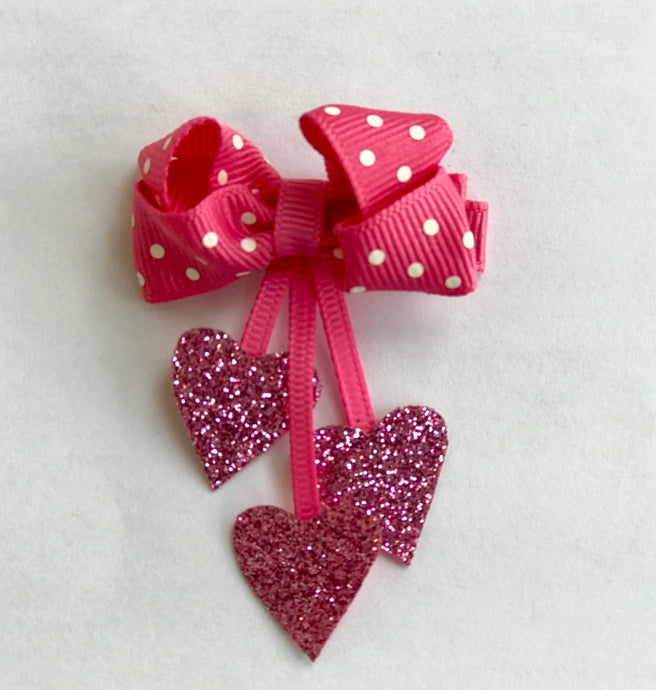 Three Drop Heart Hair Clip