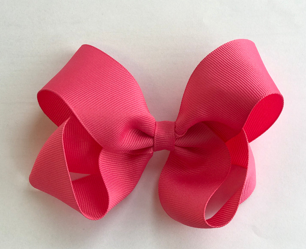 Hot Pink Bow Hair Clip
