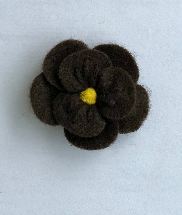 Brown Felt Flower Hair Clip