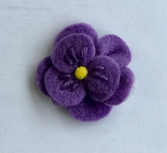 Purple Felt Flower Hair Clip