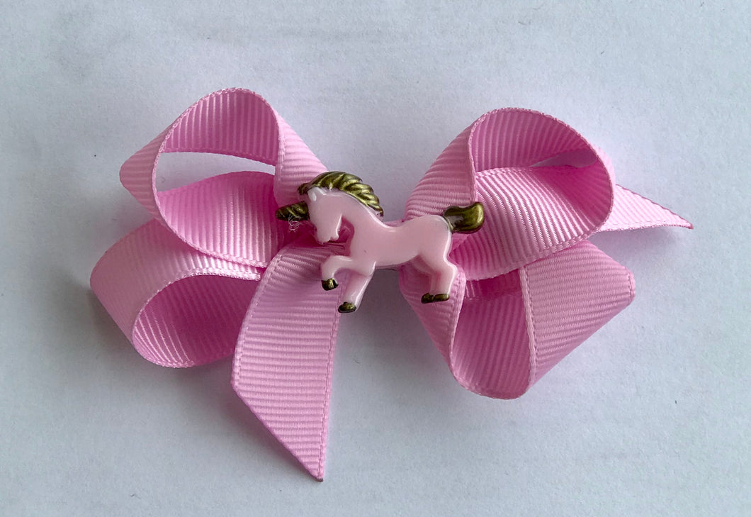 Pink Unicorn Bow Hair Clip
