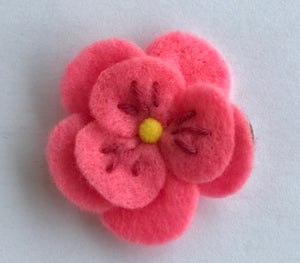 Hot Pink Felt Flower Hair Clip