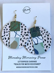 Large Circle Letter Pressed Earrings