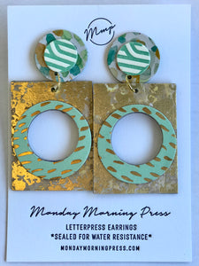 Geo Letter Pressed Earrings