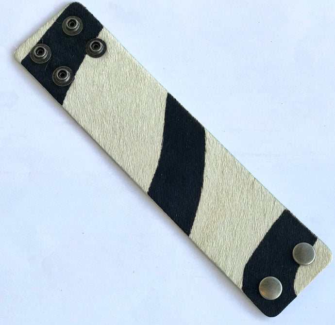 Zebra Leather Cuff Bracelet