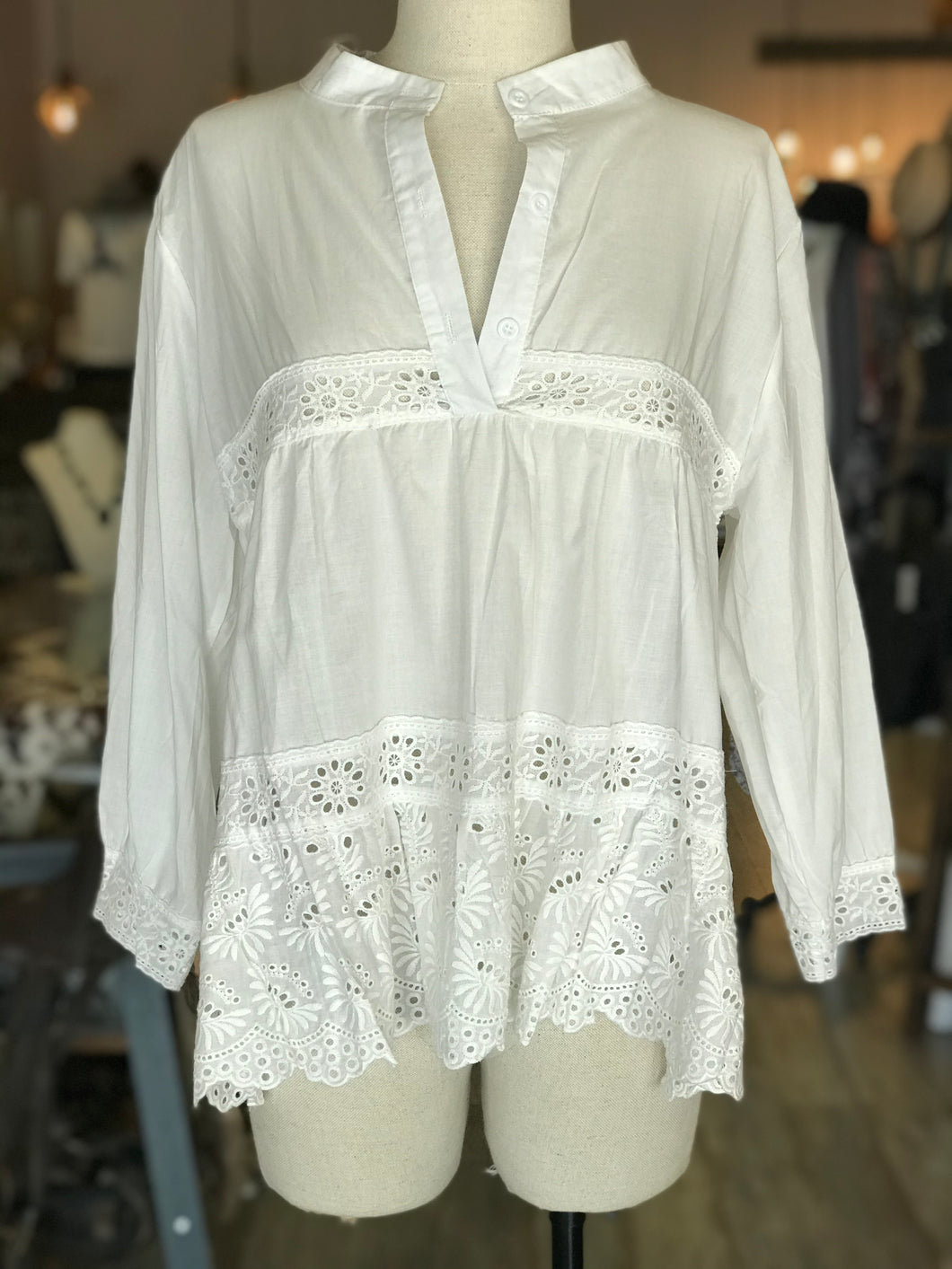 White Flower Cutout Shirt