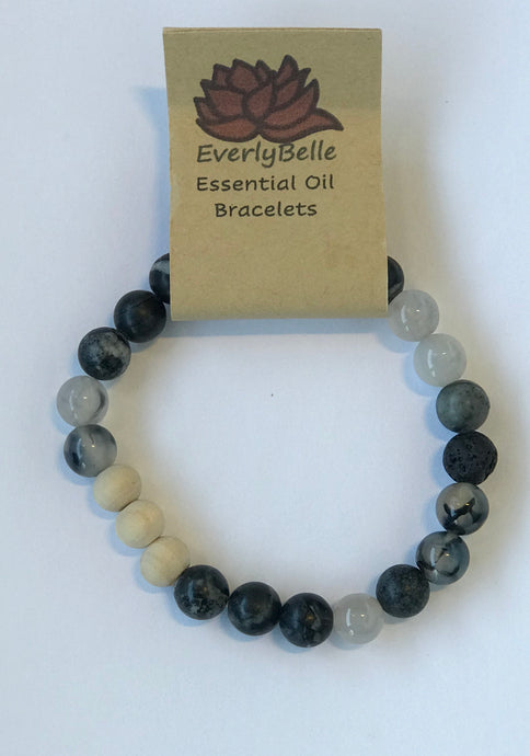 Black Marble Essential Oil Bracelet