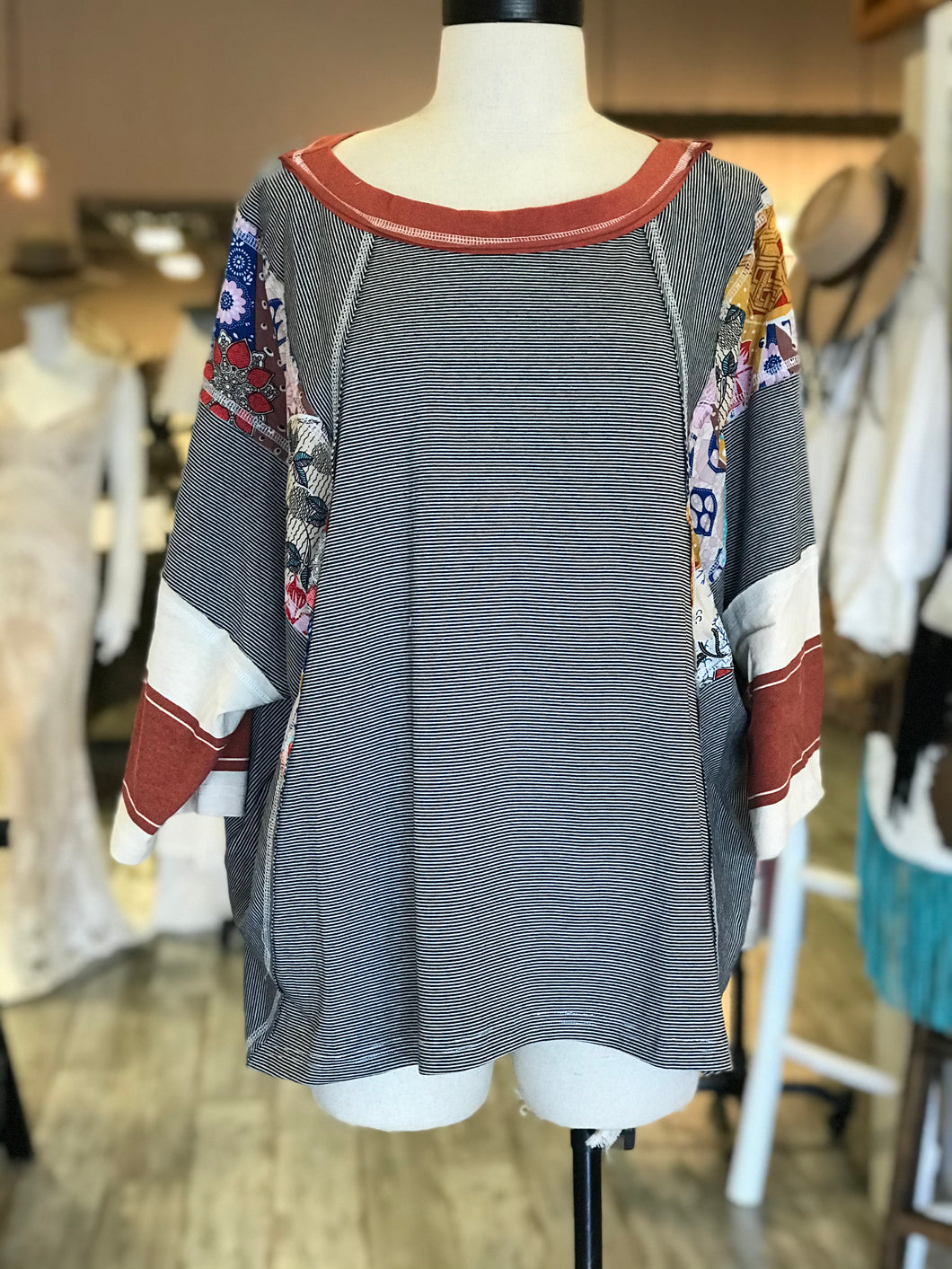 Striped Patchwork Top