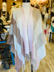 Pink & Cream Plaid Poncho