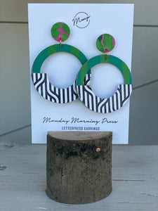 Large Green Letter Pressed Earrings