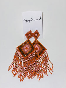 Orange & Pink Beaded Earrings