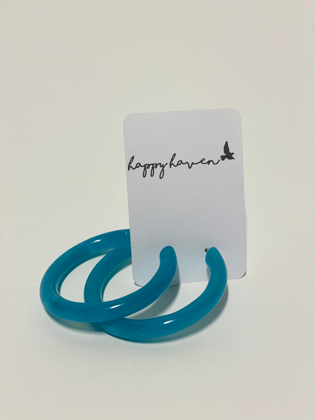 Chunky Blue Hoop Earrings