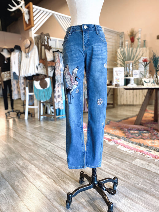 Embroidered Bird Jeans