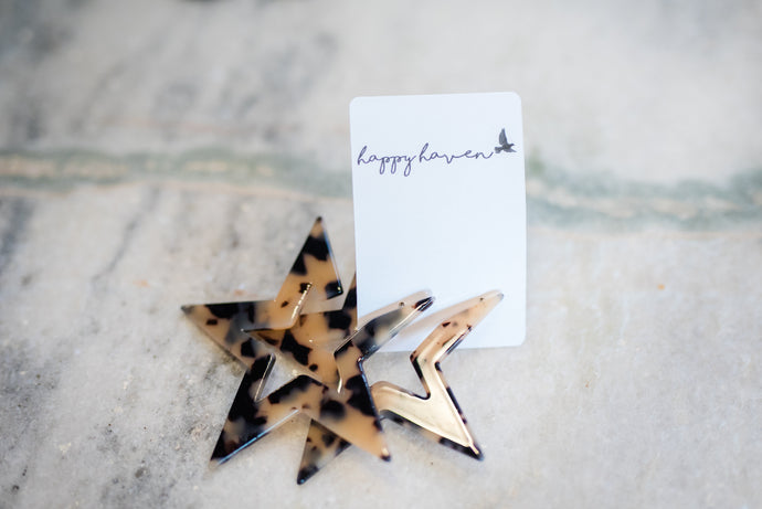 Tortoise Shell Star Earrings
