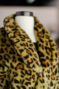 Green Leopard Print Faux Fur Coat