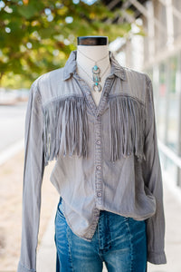 Gray Fringe Button Up