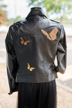 Load image into Gallery viewer, Black Moto Jacket with patchwork