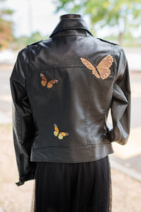 Black Moto Jacket with patchwork