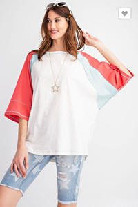Red Blue and White Wide Sleeve Shirt