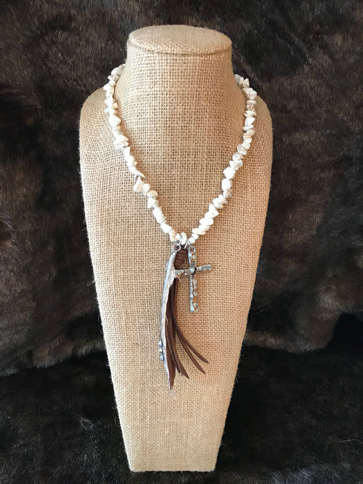 Leather, Feather, and Cross Necklace