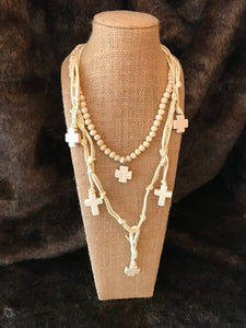 White Wood and Leather Layered Cross Necklace