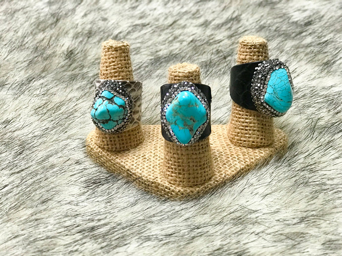 Turquoise and Jewel Wrap Ring