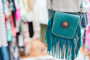 Blue Fringe Purse