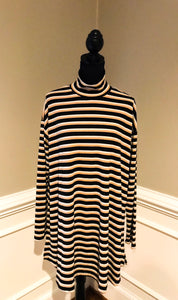 Gold, Black, and White Striped Dress