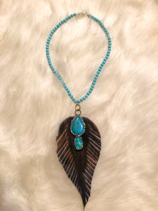 Turquoise Beaded Necklace with Feather Accent