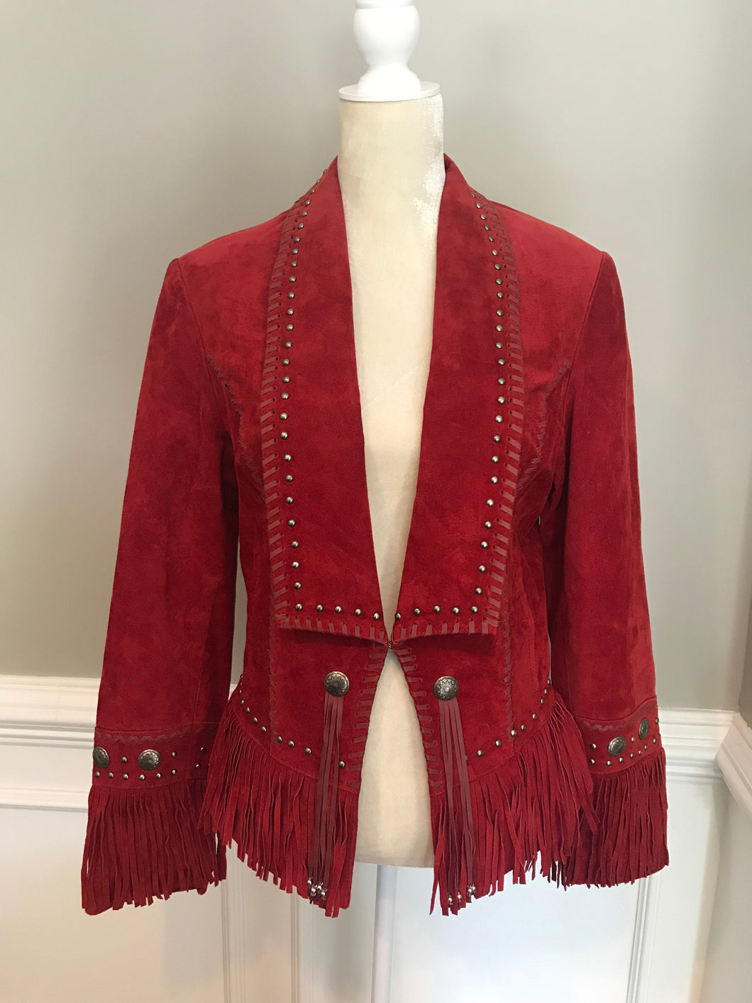 Red Suede Coat with Fringe
