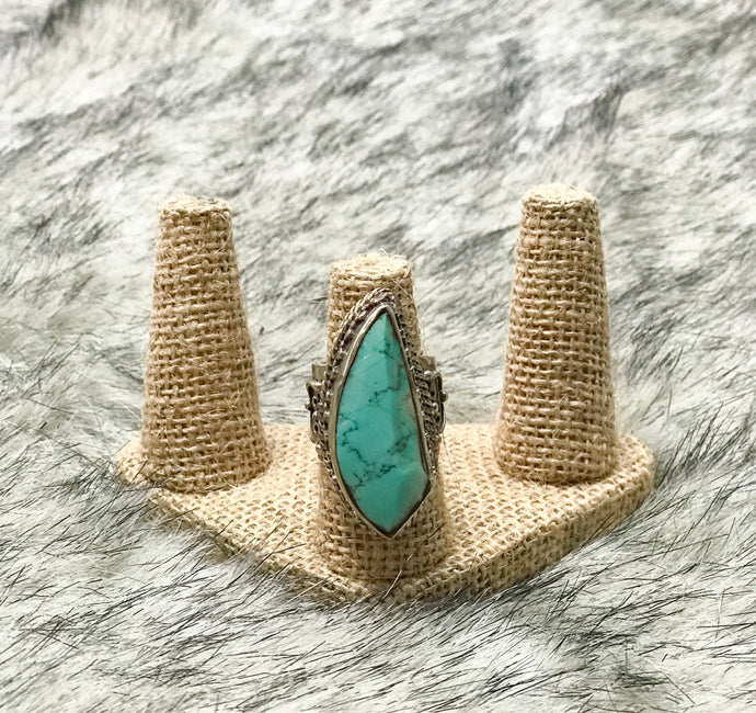 Large Silver Turquoise Ring