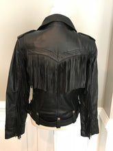 Load image into Gallery viewer, Black Leather Jacket with Fringe Across Back