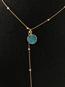 Jewel and Gold Dangle Necklace