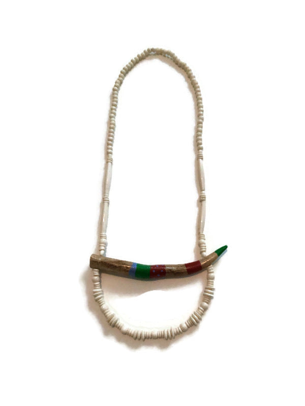 Red -Blue-Green striped Antler Necklace