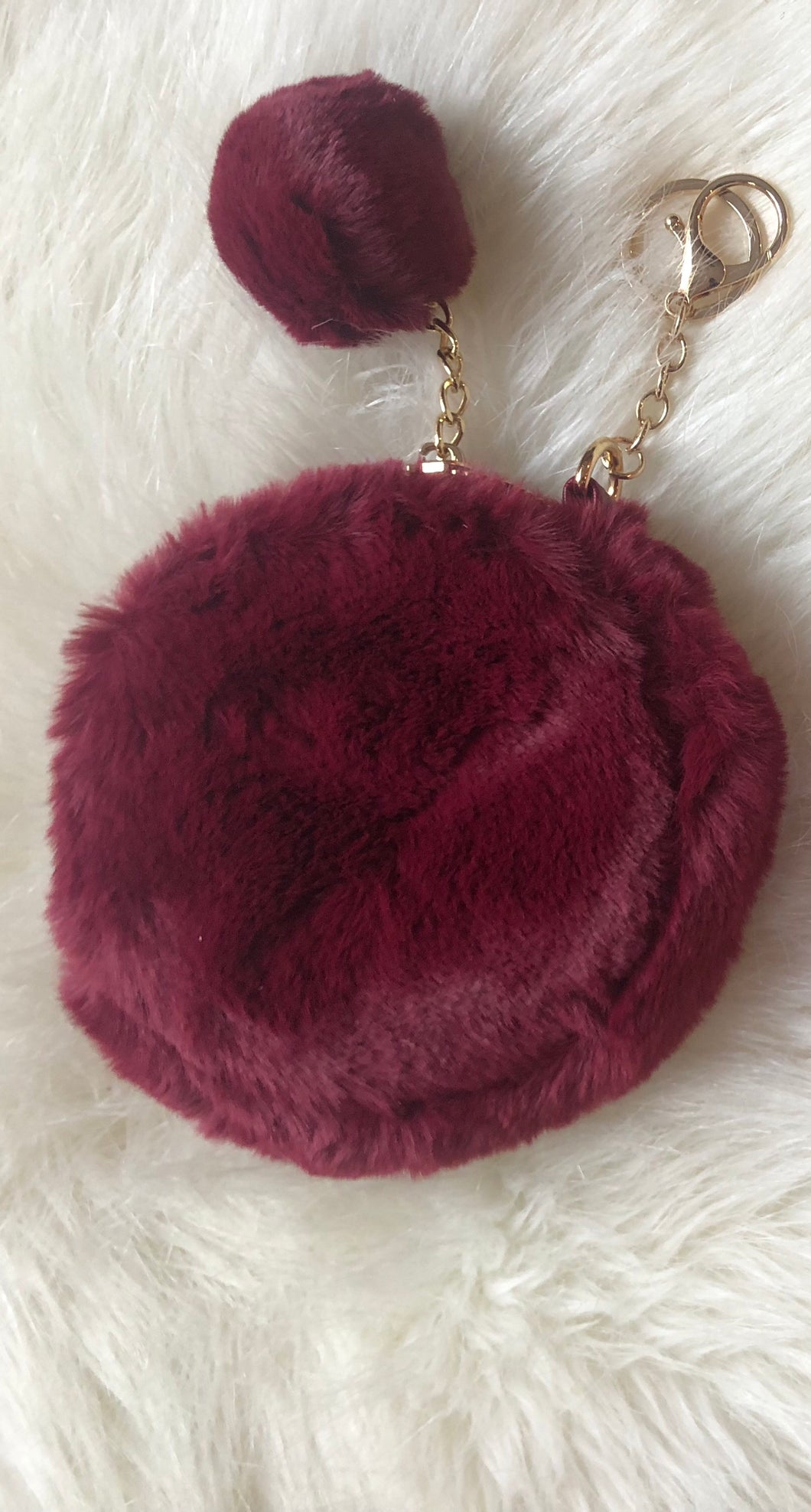 Faux Fur Change Purse (Burgundy)