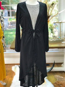 Black Gauzy Double Tie Cardigan