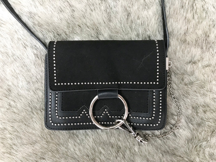 Studded Black Leather Crossbody Bag