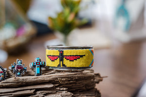 Beaded Yellow Bird Cuff