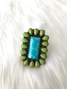 Square Turquoise with Green Accent Ring