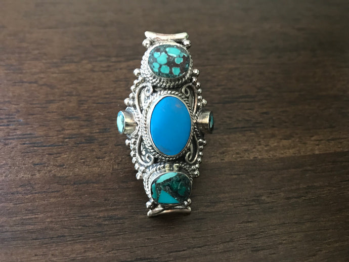 Blue Stone and Turquoise Stone Long Ring